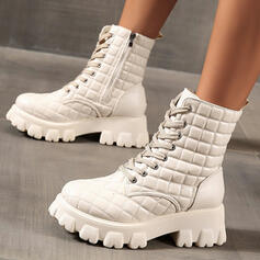 Women's Leatherette Flat Heel Platform Boots Martin Boots Round Toe With Zipper Lace-up Solid Color shoes