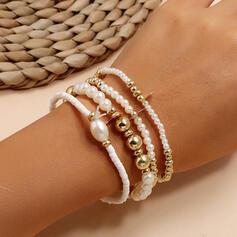 Skiktad Legering Fauxen Pärla Armband (Sats om 4)