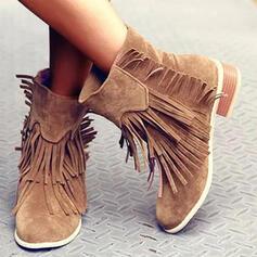 Kvinnor Mocka PU Låg Klack Halva Vaden Stövlar rund tå med Tofs Solid färg skor