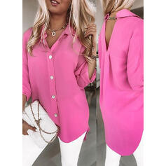 Solid Lapel Long Sleeves Dropped Shoulder Casual Blouses