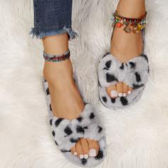 Women's Fake fur Flat Heel Peep Toe Slippers With Faux-Fur shoes