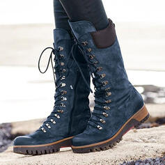 Women's Leatherette Wedge Heel Boots Martin Boots With Lace-up Solid Color shoes