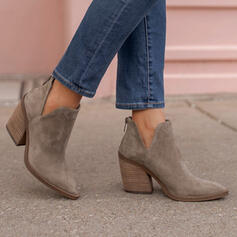 Women's Suede Chunky Heel Ankle Boots Low Top Pointed Toe With Zipper Solid Color shoes