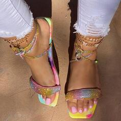 Women's PU Flat Heel Sandals Peep Toe With Splice Color shoes