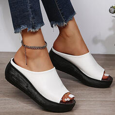 Women's PU Wedge Heel Sandals Peep Toe Slippers With Solid Color shoes