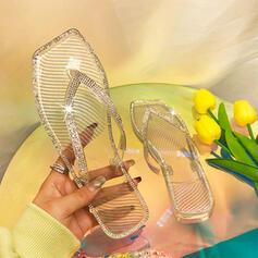 Women's PVC Flat Heel Sandals Flats Peep Toe Flip-Flops Slippers With Rhinestone Sparkling Glitter shoes