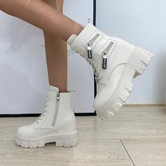 Kvinnor PU Flat Heel Boots Martin Stövlar rund tå med Zipper Bandage Solid färg skor