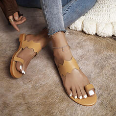 Women's PU Flat Heel Sandals Flats Peep Toe Round Toe With Solid Color shoes