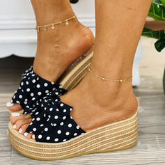Women's Suede Wedge Heel Sandals Wedges Slippers With Dot shoes