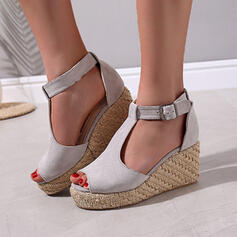 Women's Suede Wedge Heel Sandals Platform Wedges Peep Toe Heels With Buckle Animal Print Hollow-out shoes