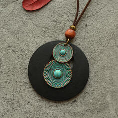 Vintage Classic Alloy Wood Turquoise With Circle Decor Women's Men's Necklaces