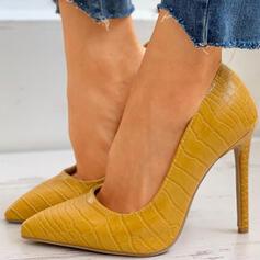 Kvinnor PU Stilettklack Pumps Spetsad tå med Päls skor
