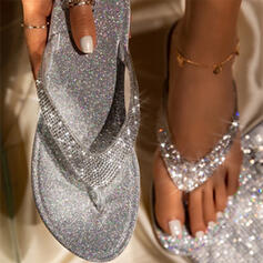 Women's Suede Leatherette Flat Heel Sandals Flats Flip-Flops Slippers With Rhinestone Sparkling Glitter Solid Color shoes