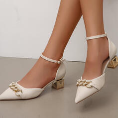 Women's PU Chunky Heel Sandals Pumps Peep Toe With Buckle Chain shoes