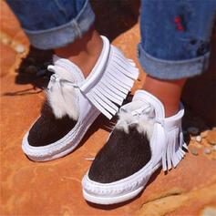 Kvinnor PU Flat Heel Boots rund tå med Tofs Skarvfärg skor