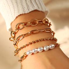 Modern Skiktad Fauxen Pärla Metall med Fauxen Pärla Armband 4 st