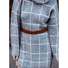Grid Cowl Neck Casual Lång Tröja klänning