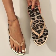 Women's PVC Flat Heel Sandals Flats Flip-Flops Slippers With Animal Print shoes