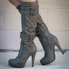 Kvinnor Mocka Stilettklack Stövlar Halva Vaden Stövlar med Solid färg skor