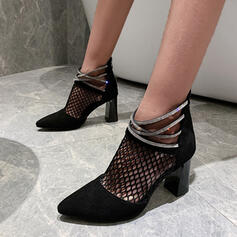 Women's PU Chunky Heel Sandals Pointed Toe With Striped Dot shoes