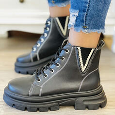 Women's PU Chunky Heel Ankle Boots Martin Boots Round Toe With Lace-up Elastic Band shoes