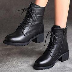 Kvinnor Äkta läder Låg Klack Boots Martin Stövlar Spetsad tå med Bandage Ihåliga ut Tofs skor