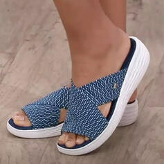 Women's Cloth Wedge Heel Sandals Wedges Peep Toe Slippers Heels With Hollow-out Striped shoes