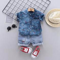 2 stycken baby pojke Button Solid Jeans Bomull Komposition