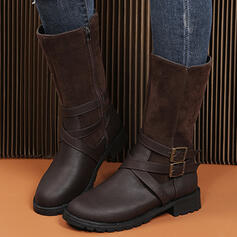 Women's Suede PU Chunky Heel Mid-Calf Boots With Buckle Zipper Others shoes