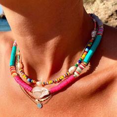 Bohemisk Skiktad Legering Mjuk lera med Oäkta Pearl Skal Smycken Sets Halsband Armband (Sats om 3)