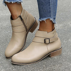 Women's Leatherette Chunky Heel Ankle Boots Round Toe With Solid Color shoes