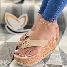 Women's PU Wedge Heel Sandals Platform Wedges Peep Toe Flip-Flops Slippers Heels With Beading Hollow-out shoes