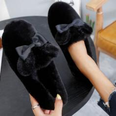 Women's Velvet Flat Heel Flats Loafers Slip On With Bowknot shoes