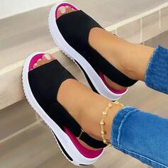 Women's Suede Flat Heel Sandals Platform Wedges Peep Toe Heels With Elastic Band shoes
