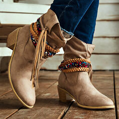 Women's PU Chunky Heel Mid-Calf Boots Pointed Toe With Tassel Braided Strap Solid Color shoes