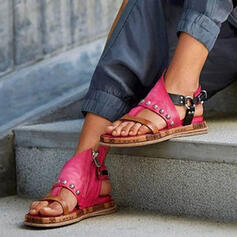Women's PU Flat Heel Sandals Flats Peep Toe Slingbacks With Rivet Buckle Splice Color shoes