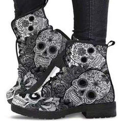 Women's PU Chunky Heel Boots Ankle Boots Martin Boots Round Toe With Lace-up Flower shoes