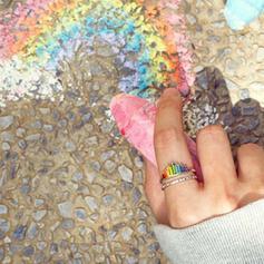Beautiful Rainbow Alloy Zircon Women's Rings
