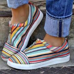 Kvinnor Duk Flat Heel Platta Skor / Fritidsskor med Skarvfärg skor