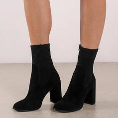 Women's Suede Chunky Heel Mid-Calf Boots Martin Boots Pointed Toe With Solid Color shoes