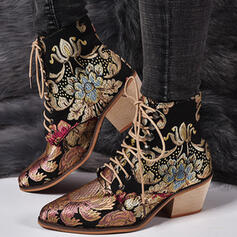 Women's PU Chunky Heel Ankle Boots Low Top Pointed Toe With Lace-up Floral Embroidery shoes