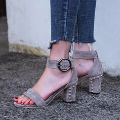 Women's Suede Chunky Heel Sandals Pumps Peep Toe With Rivet Hollow-out Solid Color shoes