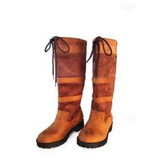 Kvinnor Mocka Låg Klack Stövlar Halva Vaden Stövlar med Bandage Skarvfärg skor