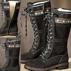 Kvinnor PU Tjockt Häl Halva Vaden Stövlar Ridstövlar rund tå med Zipper Solid färg skor