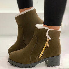 Women's Suede Chunky Heel Boots Ankle Boots Snow Boots Round Toe Winter Boots With Zipper shoes