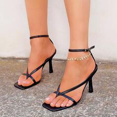 Women's PU Stiletto Heel Sandals Pumps Peep Toe Flip-Flops With Buckle Hollow-out Solid Color shoes