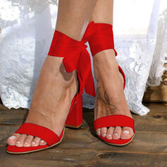Women's PU Chunky Heel Sandals Pumps Peep Toe With Bowknot Lace-up Solid Color shoes