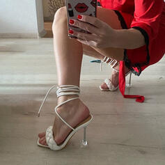 Women's PU Kitten Heel Sandals Pumps Peep Toe With Braided Strap Solid Color shoes