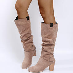 Women's PU Chunky Heel Mid-Calf Boots Martin Boots Pointed Toe With Ruched Zipper shoes