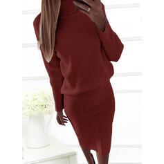 Solid Long Sleeves Bodycon Sweater Little Black/Casual/Elegant Midi Dresses
